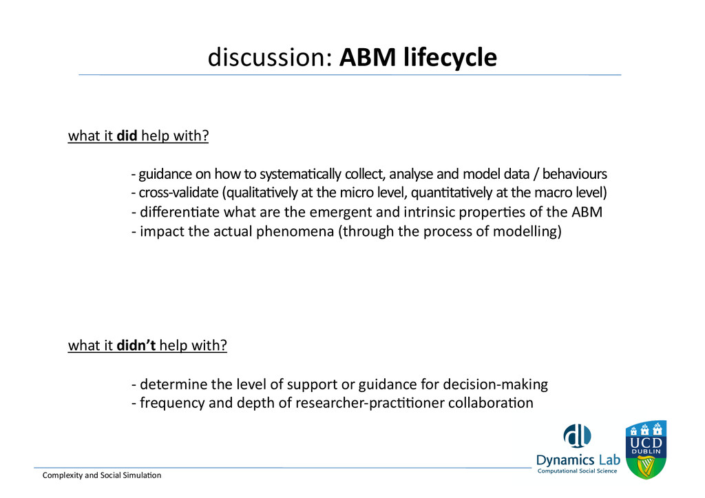 discussion: ABM lifecycle  Complexity...