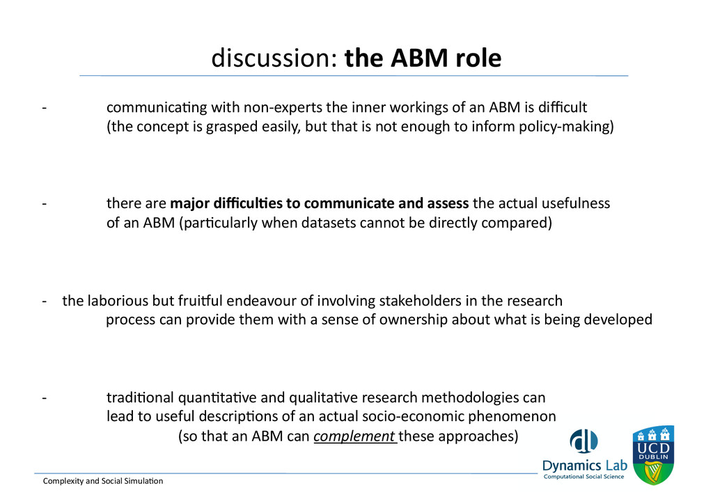 discussion: the ABM role   Complexi...