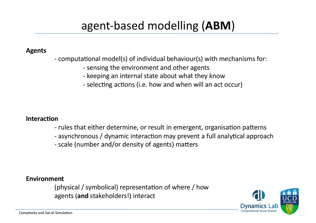 agent-‐based modelling (ABM)  Complex...