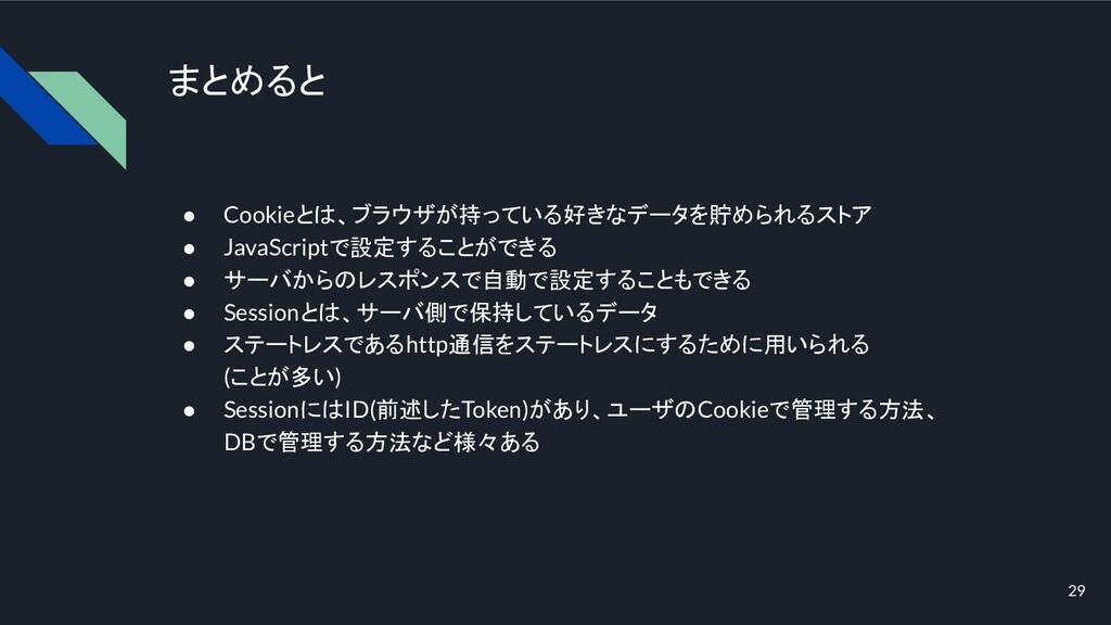 まとめると ● Cookieとは、ブラウザが持っている好きなデータを貯められるストア ● Ja...