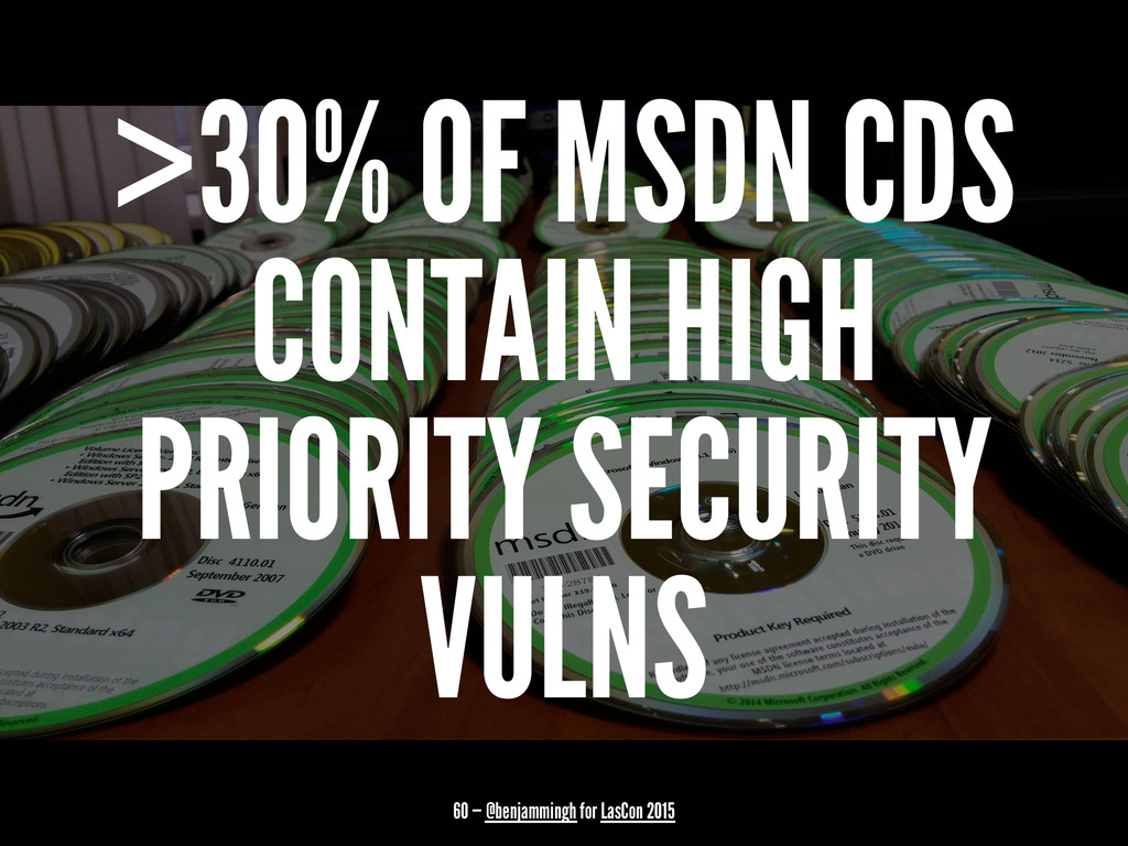 >30% OF MSDN CDS CONTAIN HIGH PRIORITY SECURITY...