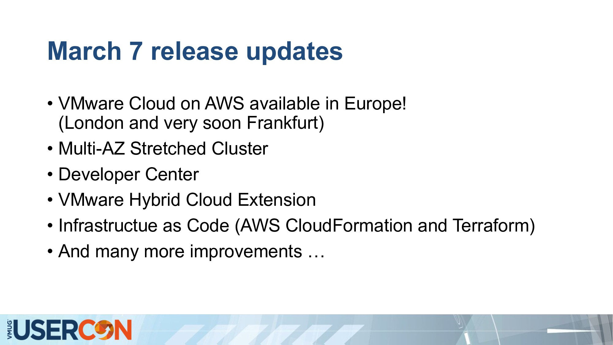 March 7 release updates • VMware Cloud on AWS a...