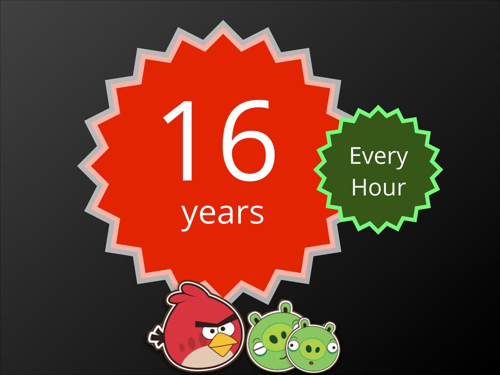 16 years Every Hour