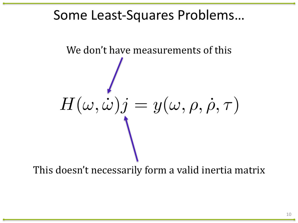 Some Least-‐Squares Problems… 10 H(!, ˙ ...