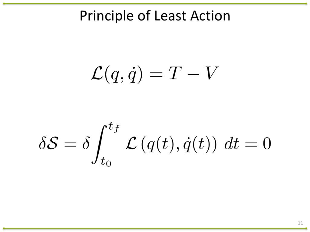 Principle of Least Action 11 L(q, ˙ q)...