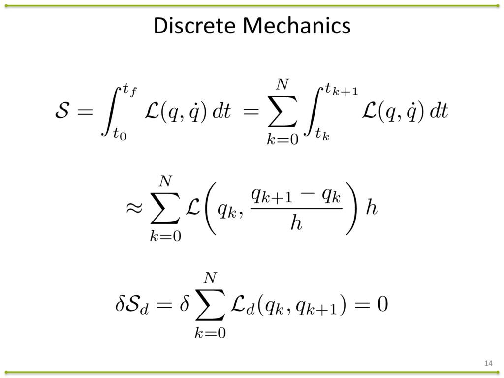 14 Discrete Mechanics = N X k=0 Z tk+1 tk L(...