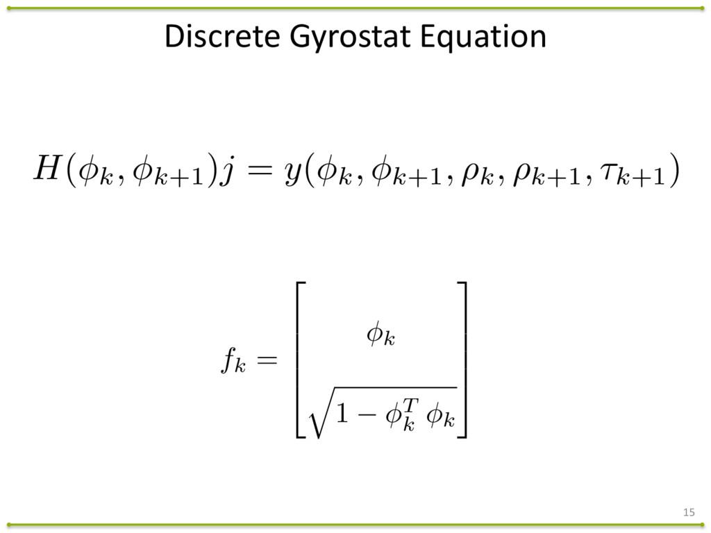 15 Discrete Gyrostat Equation fk = 2 6 6 ...