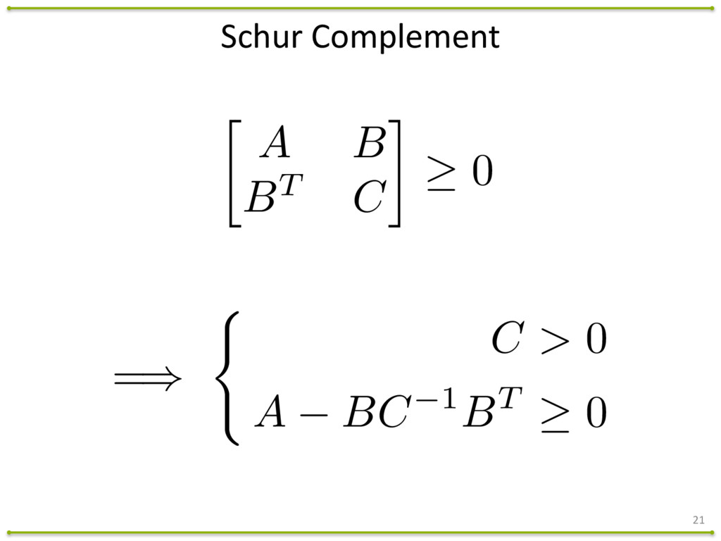 21 Schur Complement  A B BT C 0 =) ( C > 0 A B...