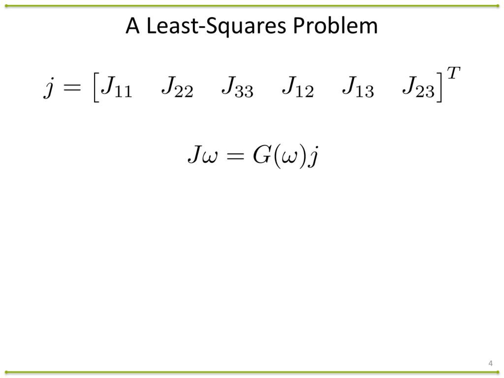 A Least-‐Squares Problem 4 J! = G(!)j j ...