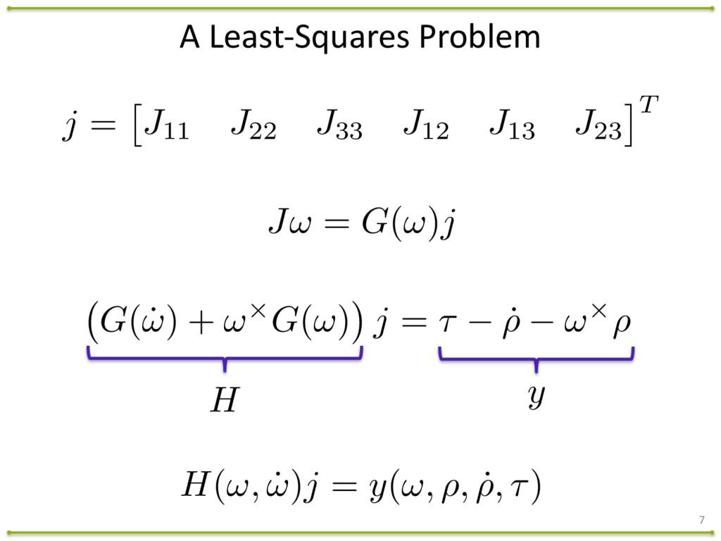 A Least-‐Squares Problem 7 J! = G(!)j H ...