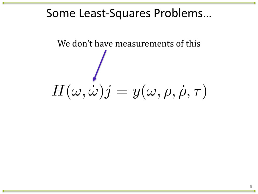 Some Least-‐Squares Problems… 9 H(!, ˙ !...