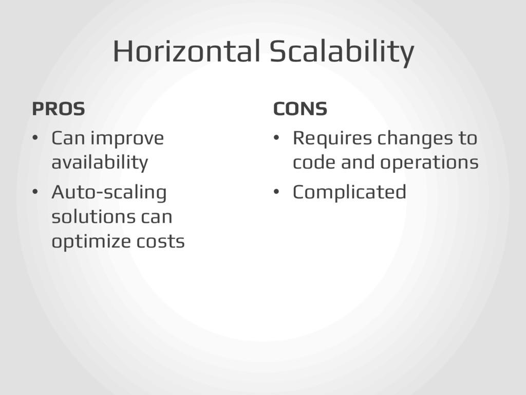 Horizontal Scalability! PROS! • Can improve av...