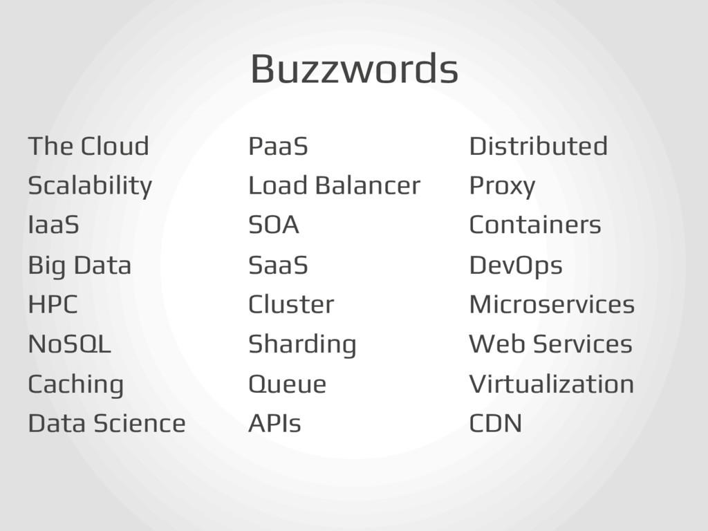 Buzzwords! The Cloud! Scalability! IaaS! Big Da...