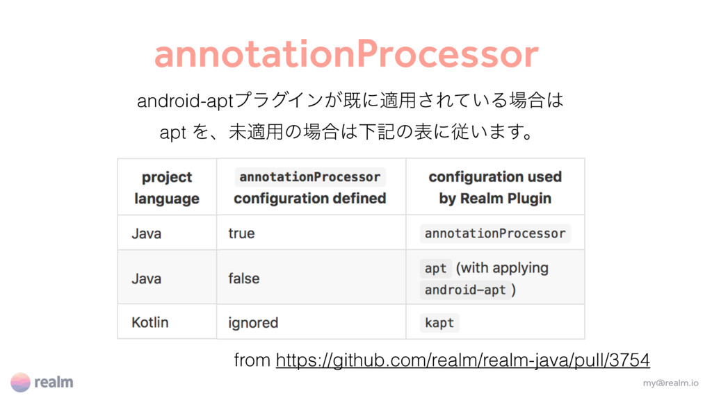 annotationProcessor my@realm.io from https://gi...