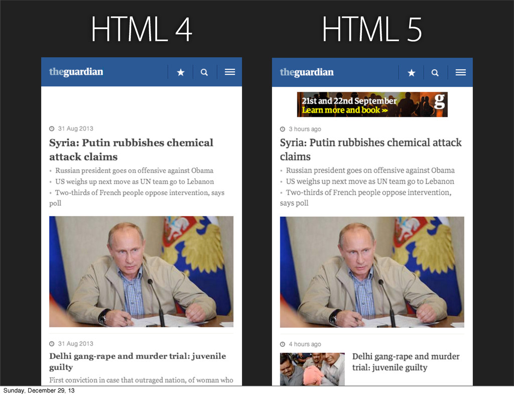HTML 4 HTML 5 Sunday, December 29, 13