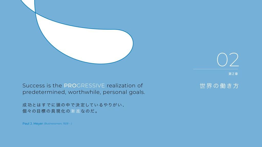 02 世 界 の 働き方 Success is the PROGRESSIVE realiza...