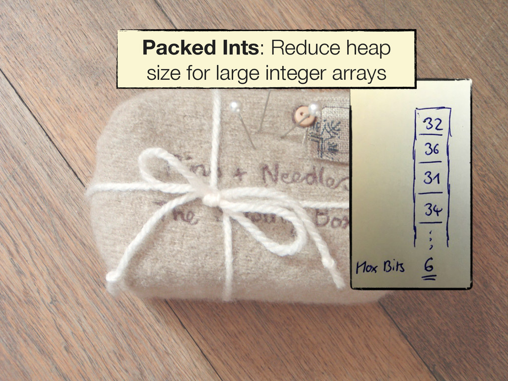 Packed Ints: Reduce heap size for large integer...