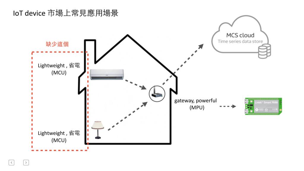 IoT device 市場上常⾒見應⽤用場景 Lightweight ,...