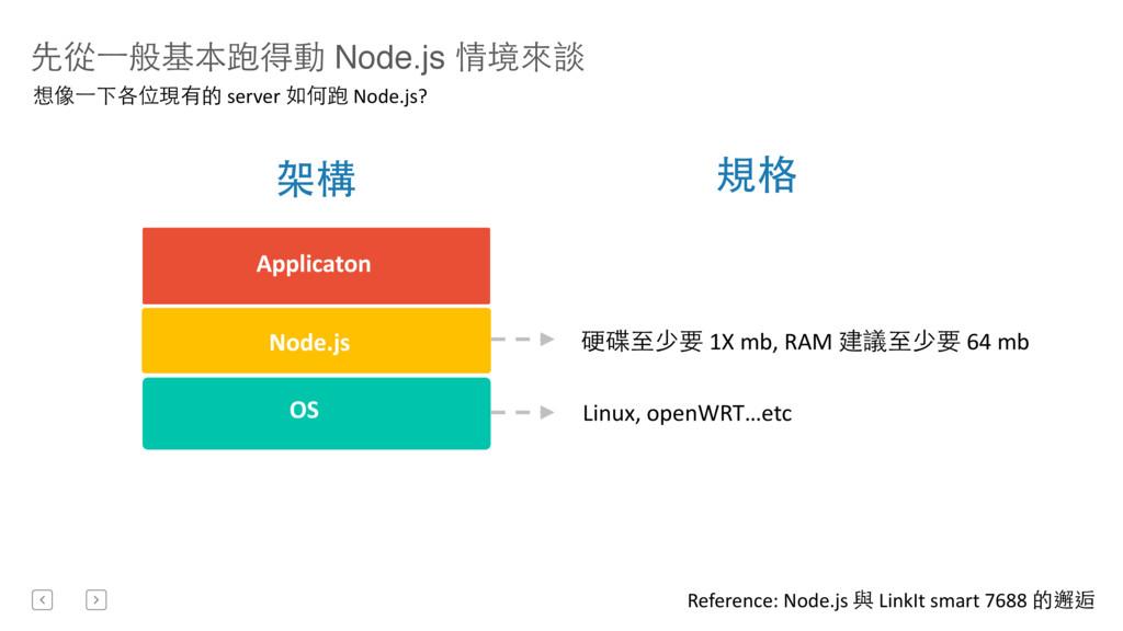 先從⼀一般基本跑得動 Node.js 情境來談 Node.js OS  Applicat...