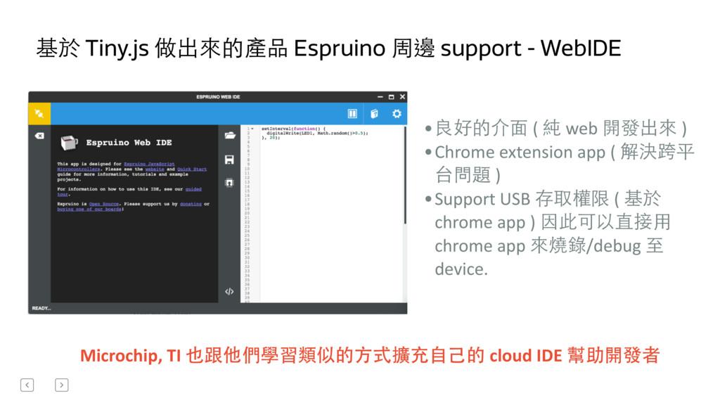 基於 Tiny.js 做出來的產品 Espruino 周邊 support - WebIDE ...