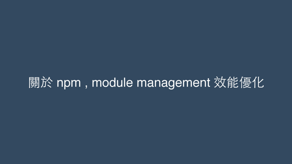 關於 npm , module management 效能優化