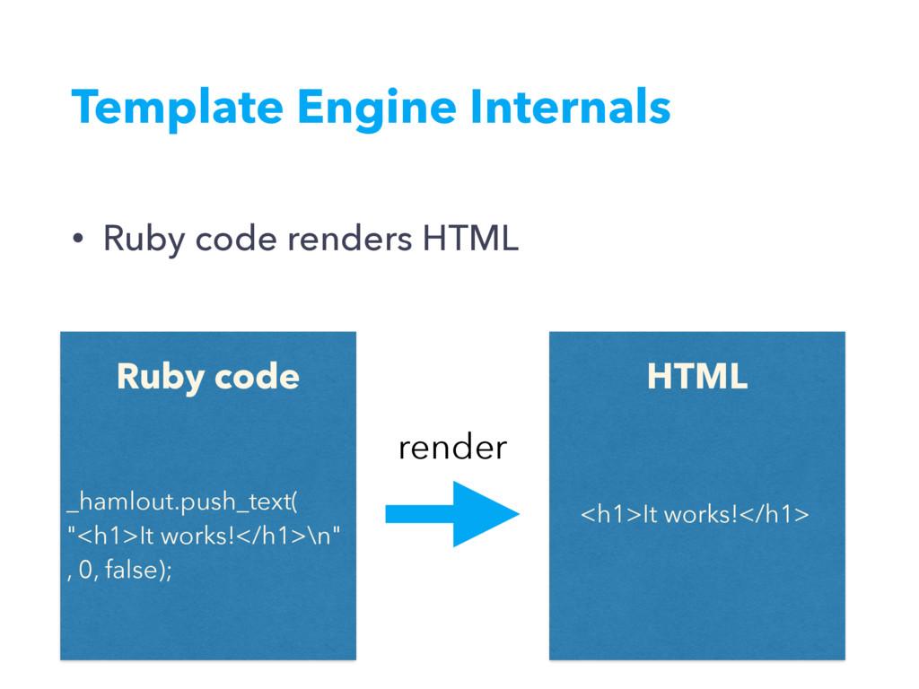 Template Engine Internals • Ruby code renders H...