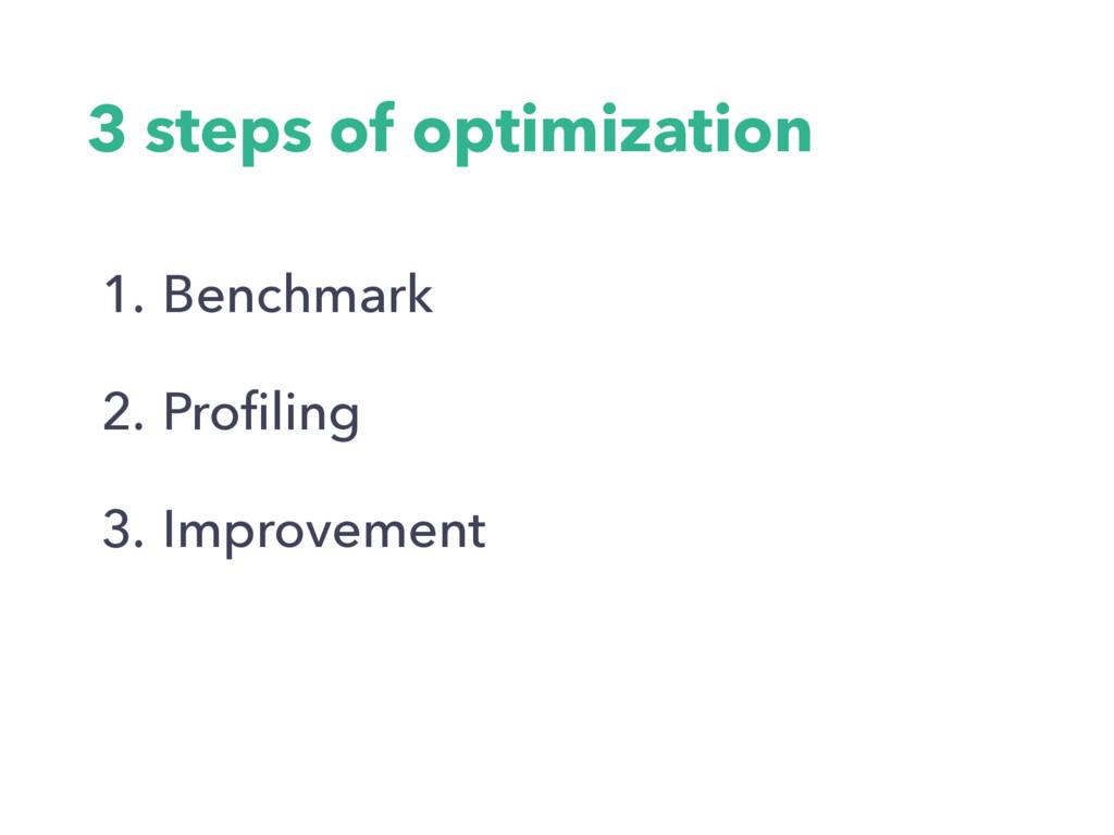 3 steps of optimization 1. Benchmark 2. Profilin...