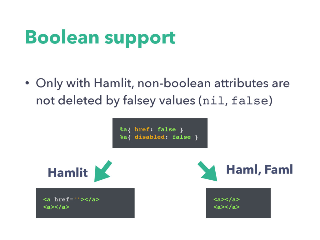 Boolean support • Only with Hamlit, non-boolean...