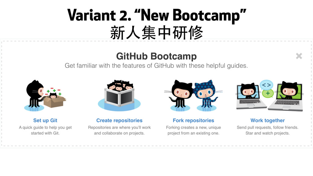 "Variant 2. ""New Bootcamp"" 新⼈人集中研修"