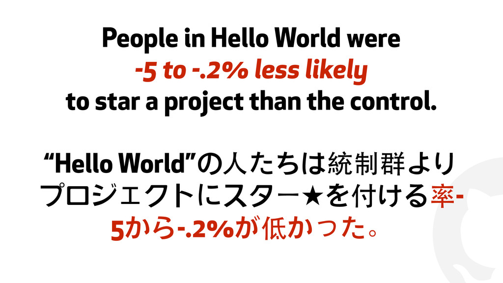 ! People in Hello World were -5 to -.2% less li...