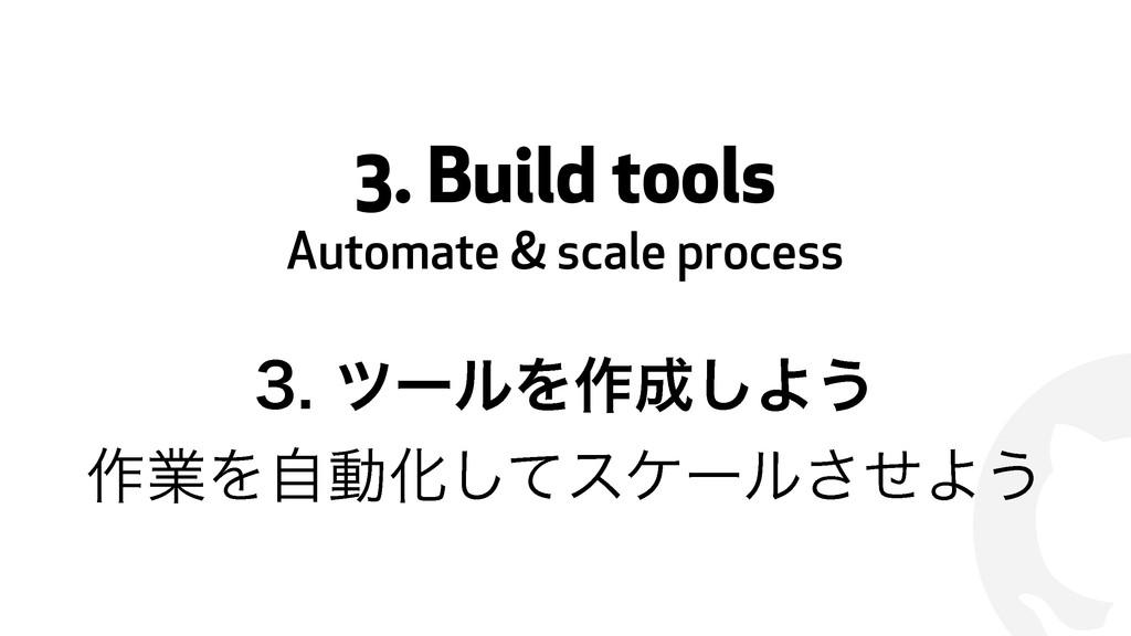 ! 3. Build tools Automate & scale process πʔ...