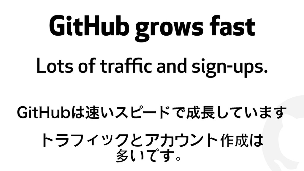 ! GitHub grows fast Lots of traffic and sign-ups....