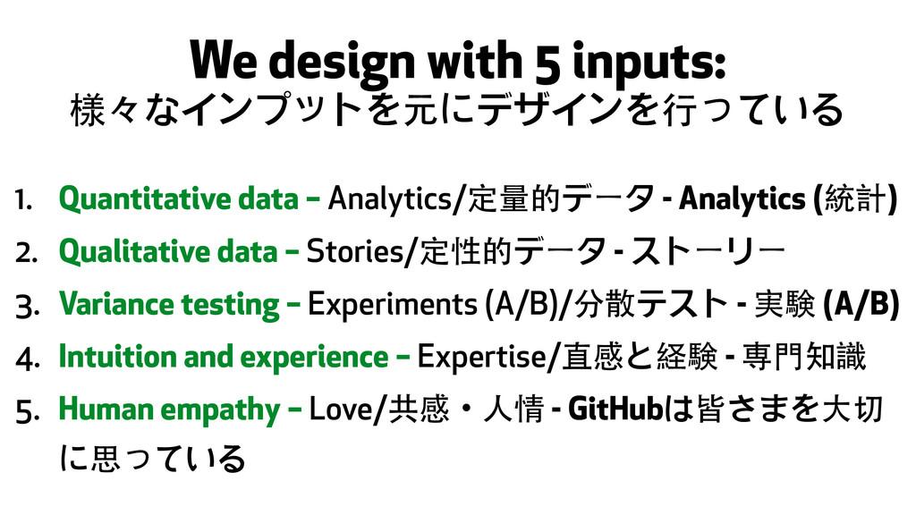 We design with 5 inputs: 様々なインプットを元にデザインを⾏行っている...