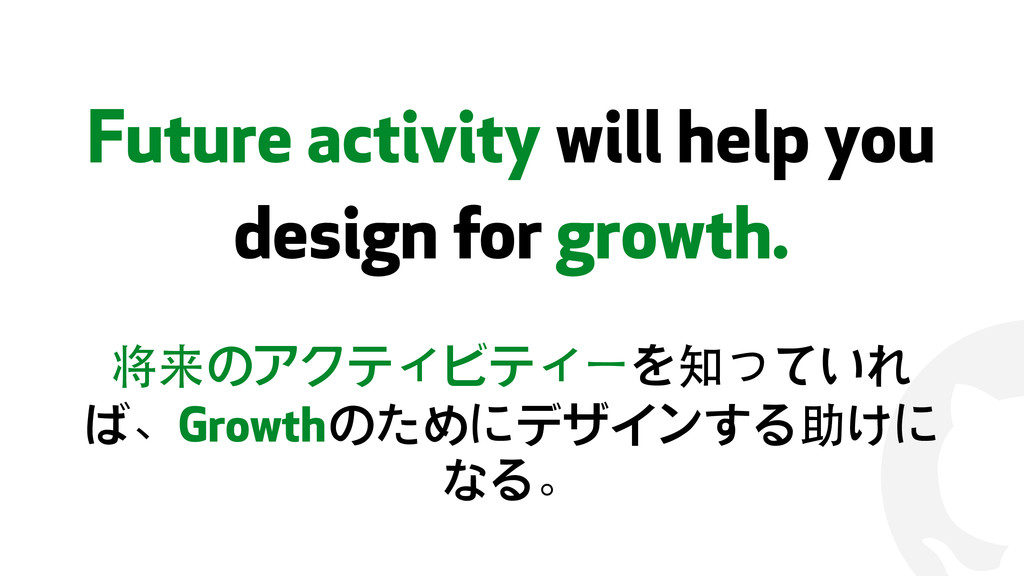 ! Future activity will help you design for grow...