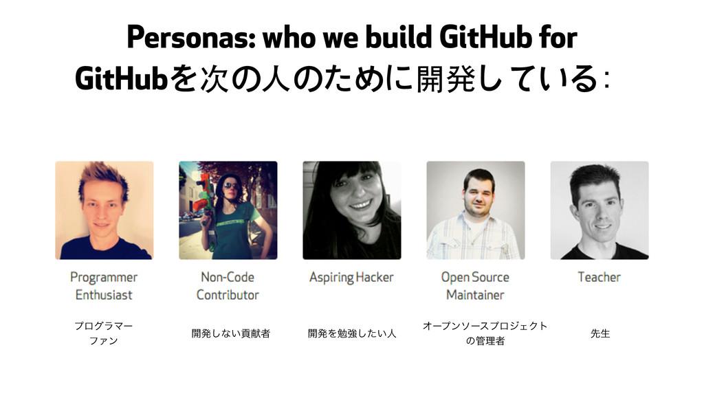 Personas: who we build GitHub for GitHubを次の⼈人のた...
