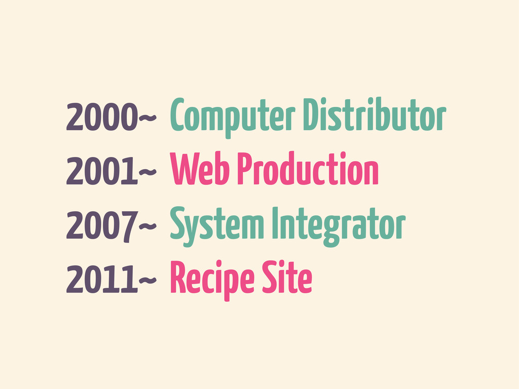 2000~ Computer Distributor 2001~ Web Production...
