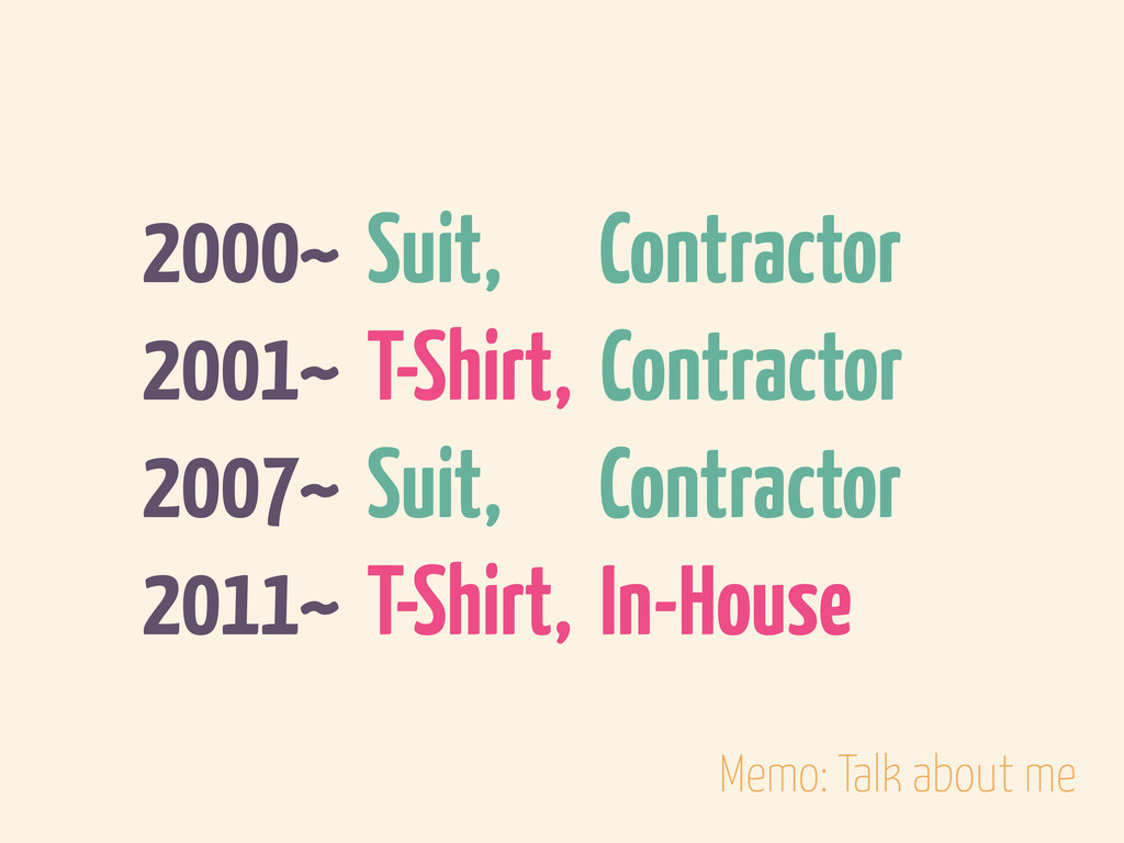 2000~ Suit, Contractor 2001~ T-Shirt, Contracto...