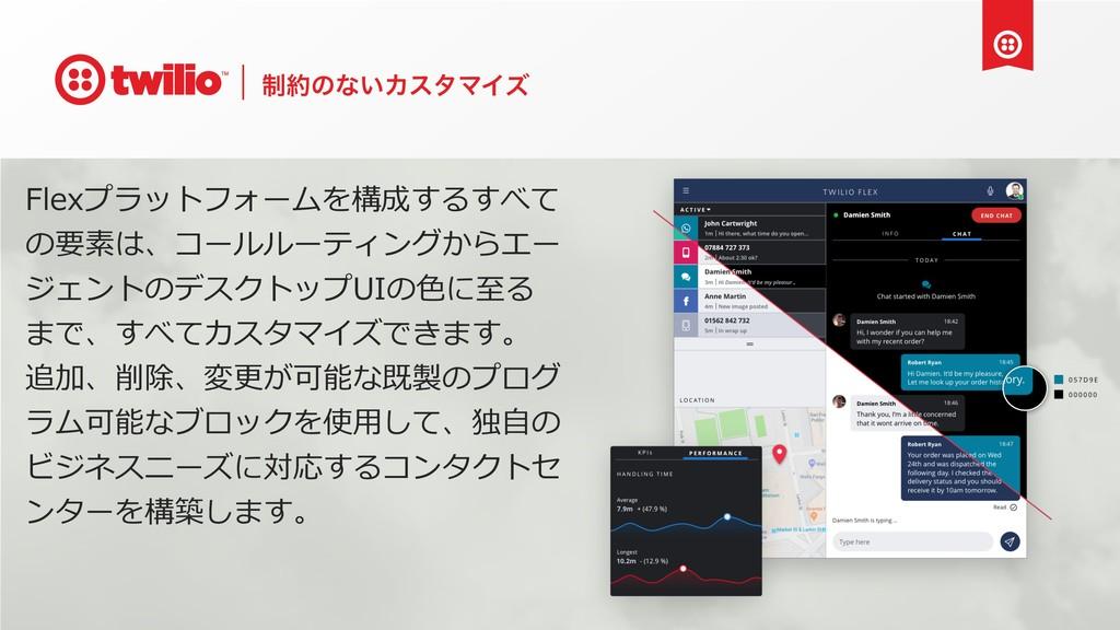 ੍ͷͳ͍ΧελϚΠζ Flexプラットフォームを構成するすべて の要素は、コールルーティング...