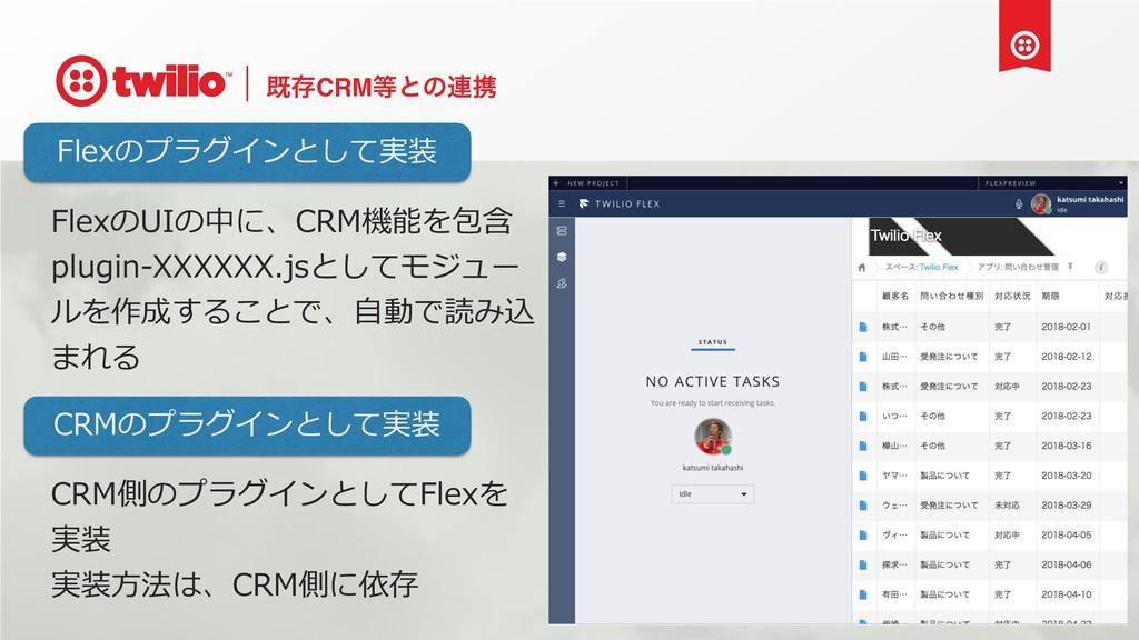 طଘCRMͱͷ࿈ܞ FlexのUIの中に、CRM機能を包含 plugin-XXXXXX.js...