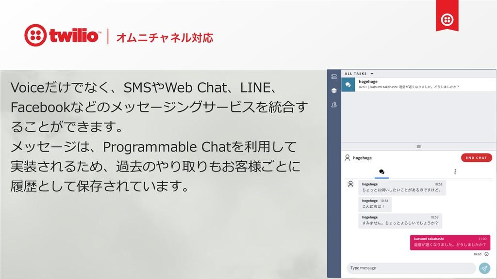 ΦϜχνϟωϧରԠ Voiceだけでなく、SMSやWeb Chat、LINE、 Faceboo...