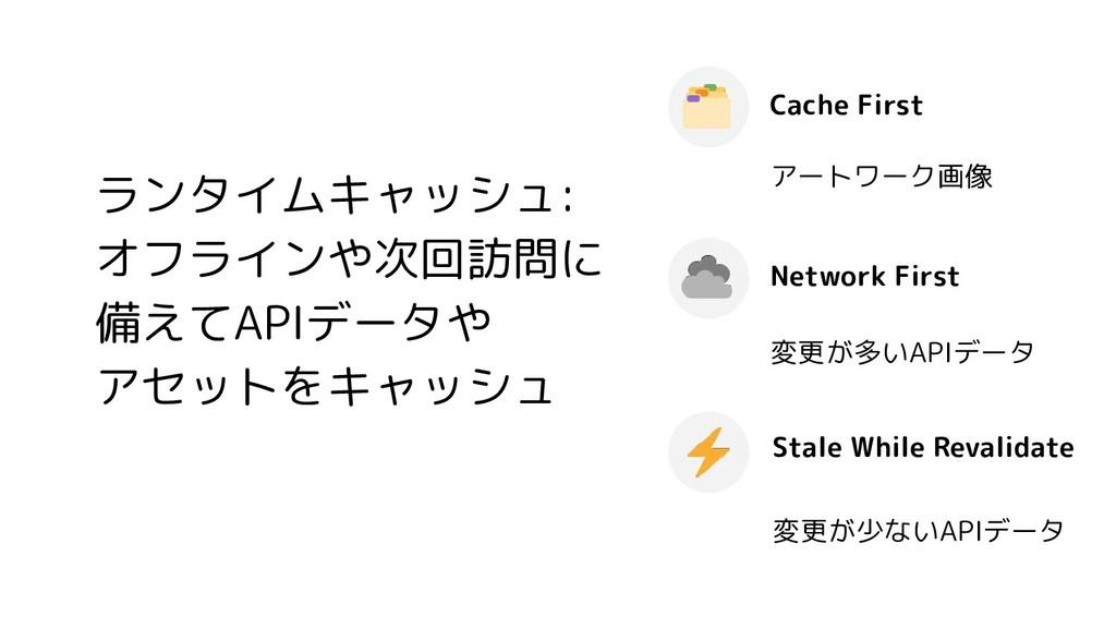 ランタイムキャッシュ: オフラインや次回訪問に 備えてAPIデータや アセットをキャッシュ C...