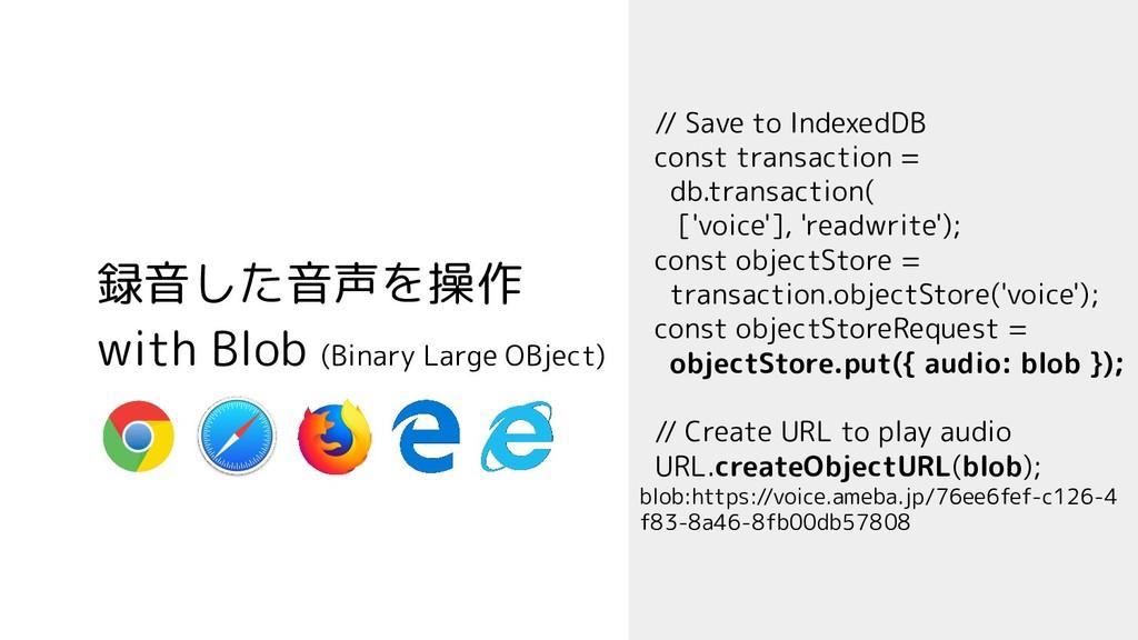録音した音声を操作 with Blob (Binary Large OBject) // Sa...