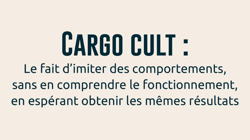 Cargo cult : Le fait d'imiter des comportements...