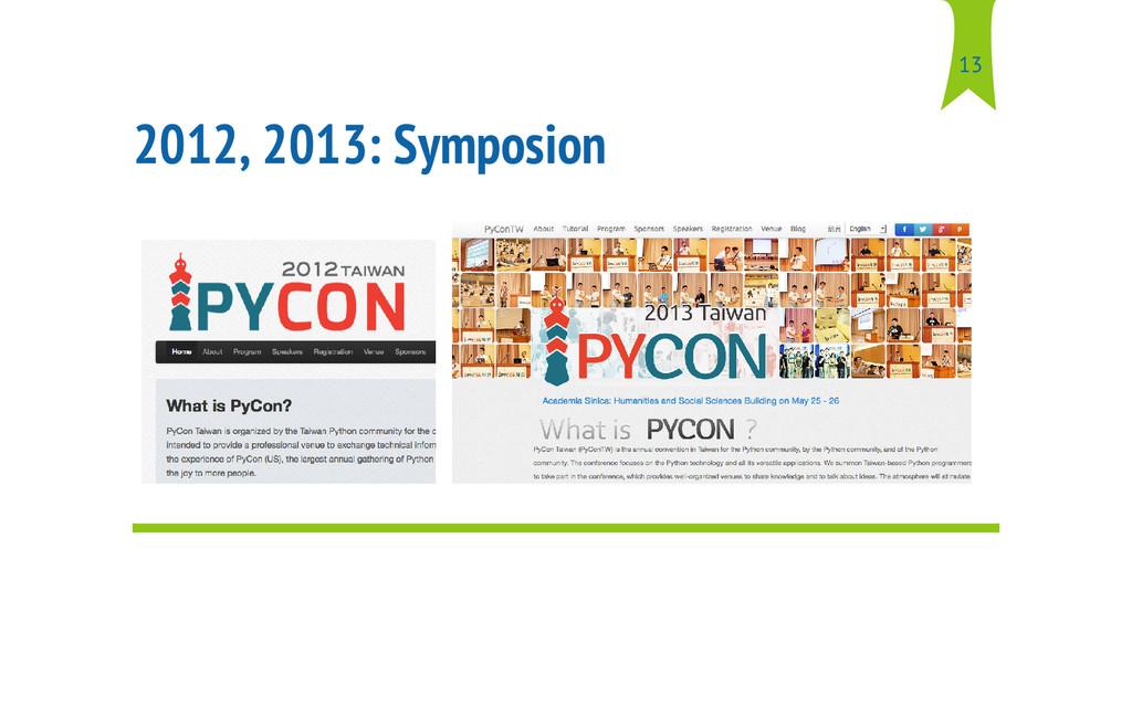 2012, 2013: Symposion 13