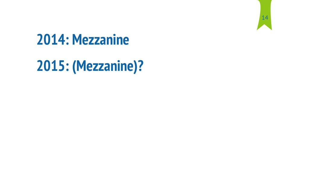 2014: Mezzanine 2015: (Mezzanine)? 14