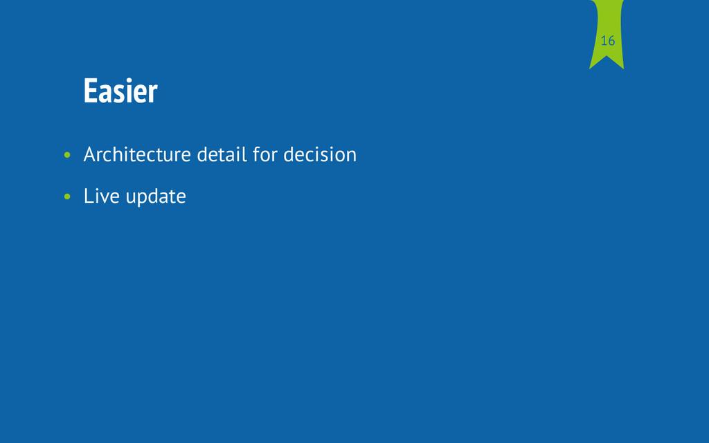 Easier • Architecture detail for decision • Liv...