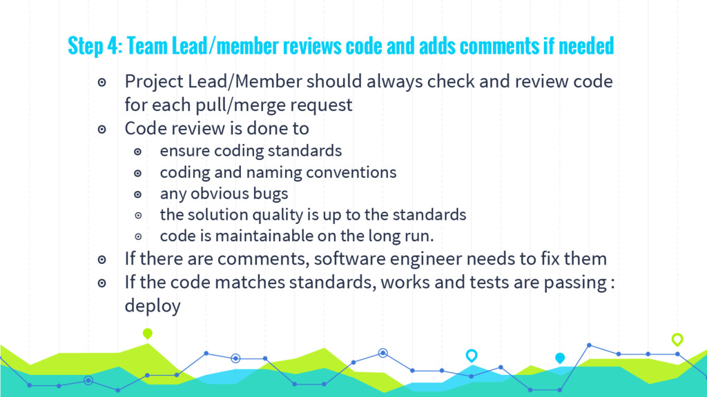Step 4: Team Lead/member reviews code and adds ...