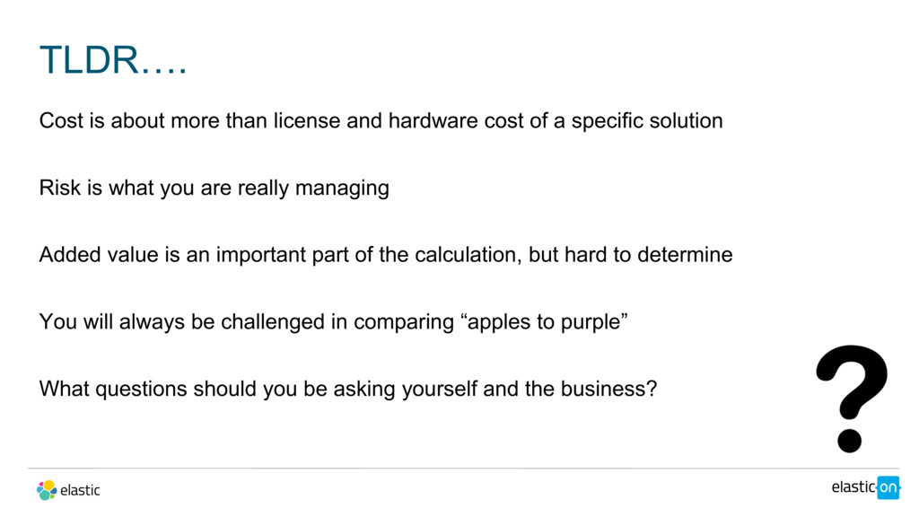 TLDR…. Cost is about more than license and hard...