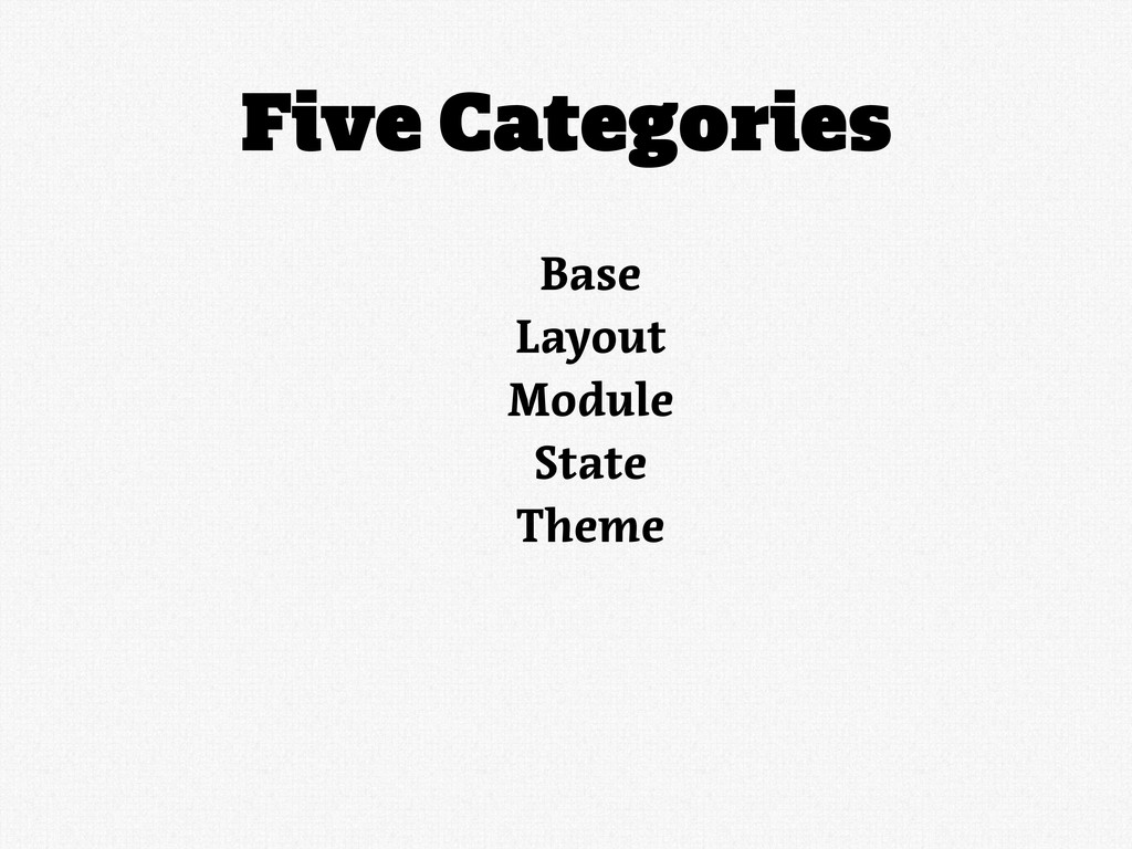 Five Categories Base Layout Module State Theme