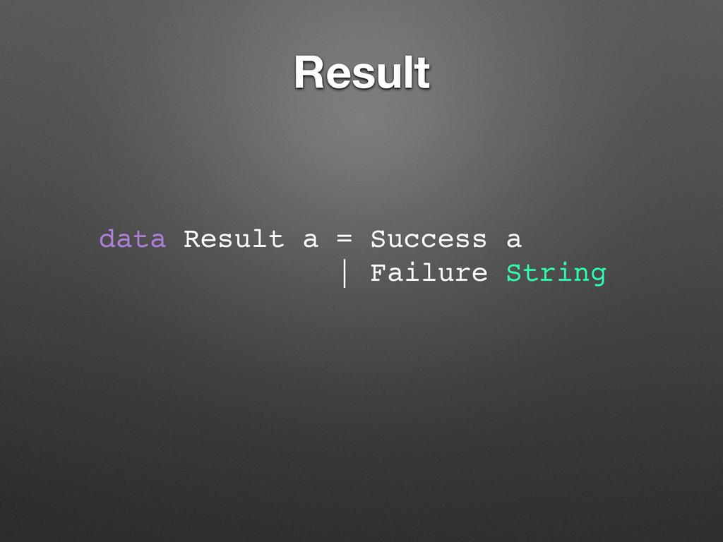 Result data Result a = Success a   Failure Stri...